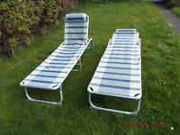 2 X Outwell XL Folding Camping/Garden Lounger-cum-Bed in Good, Clean condition