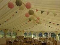 Wedding bunting, pink, ivory and grey. Three lengths of 15m for sale @ £20 each