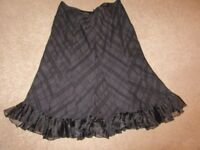 PER UNA SPEZIALE SKIRT BLACK FULLY LINED SIZE 16 EVENING PARTY FLIPPY FRILLED