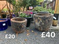 Glazed pots - stone Pots