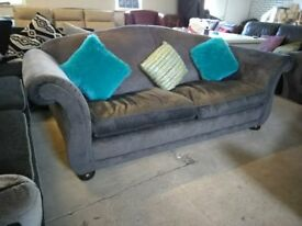 Laura Ashley Grey Fabric sofa couch Lovely Delivery Poss