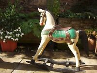 Oriental Carved Wooden Rocking Horse