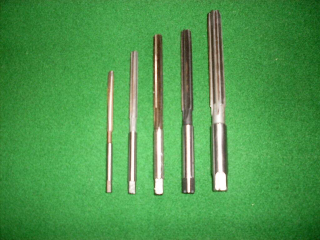 HSS-Handreibahlen DIN 206, geradegen,  5-tlg. Satz   3,0 4,0 5,0 6,0 8,0 mm H8