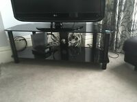 Large black glass corner tv stand