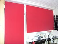 TWO - Roller Blinds in red 1500mm width & 600mm width with fixings
