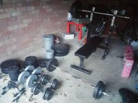 Bench, Olympic Barbells, Dumbells + 170 kg weigths