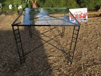 Metal and Glass Square Garden Table