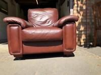Vintage large brown leather lazy boy armchair
