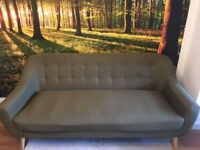 Well maintained beautiful Retro 3 Seater Fabric Sofa Olive Green