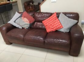 Brown Leather 3 Seater Sofa and Single Chair (Ideas Lisburn Rd, Belfast)