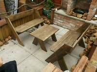 Patio benches and drinks table