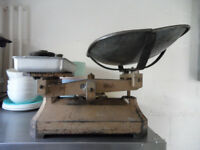 Commercial kitchen WEIGHING SCALES BALANCE with weights.