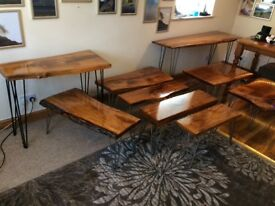 Handcrafted solid oak tables