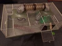 Rosewood hamster cage with accessories