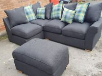 Stunning Brand New Dark grey corner sofa and footstool.or larger corner.can deliver