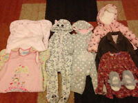 6-12months BABY GIRLS winter clothing Bundle of Cat coat, pram suits, sleeping bags will post out