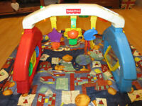 Pretty Large Playmat for babies + Fisher Price Play Gym (colour lights & music)
