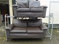 brown leather 3 x 2sofa good condition can deliver