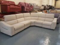 Ex-display Elixir natural plain fabric electric recliner large corner sofa