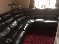 Brown Chunky Leather Corner Sofa