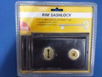 NEW BOXED Rim Sashlock / door lock 6inches x 4inches Black with two keys