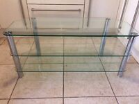Heavy glass silver tv stand