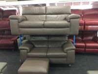 New/ExDisplay Reid Liberata Brown Leather 3 + 2 Seater Sofas + Footstools (movable headrest)