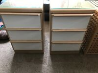 Bedside Cabinet x2 3 drawers in each with white front, oak effect with glass tops good condition