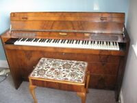 1930's Eavestaff Cottage Piano, Walnut with Matching Stool. Can Deliver.