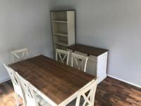 Table 6 chairs, bookcase and sideboard with 2 draws