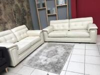 EX DISPLAY DUKE GENUINE LEATHER | OFF WHITE | 3 + 2 SEATER SOFA SETTE COUCH | CHESTERFIELD |DELIVERY