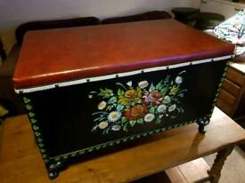 Hand painted (signed) seat/storage box