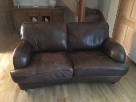 Brown leather 2 and 3 seater couches