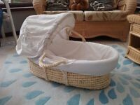 Mothercare moses basket with swaying cradle and new baby bath