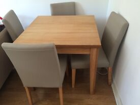Next extending dining table and 4 faux leather chairs