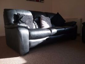2 x Black Leather sofa's