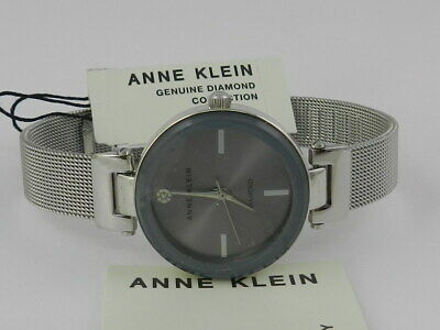 Anne Klein Women's Genuine Diamond Dial Mesh Bracelet Watch AK/3035GYSV