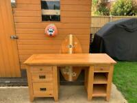 Excellent Solid Oak Desk Country Antique Heavy Duty Desk- Just French Polished Only £290