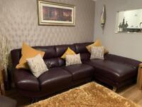 BARGAIN! Stunning Aubergine/Dark Purple Italian leather corner sofa Right side