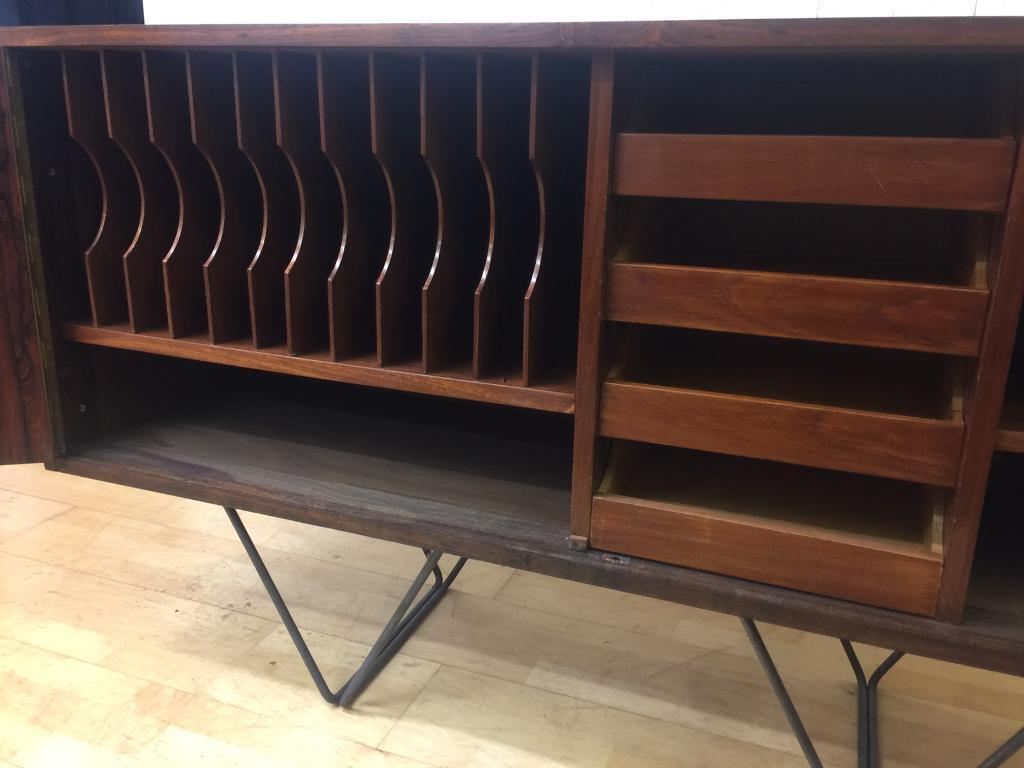 Danish Office Credenza : Vintage retro rosewood danish sideboard credenza tv record