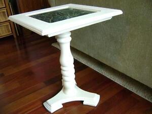 White pedestal table