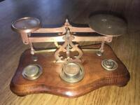 Antique Postal Scales Victorian dated 1871 with weights in Brass.