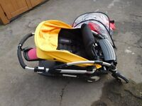Pushchair Bugaboo Bee. 2 kids. Seat in Front, other child stands at rear. Loads of accesories.