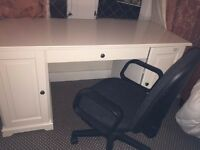 White good size desk in mint condition with an office chair (Ikea LIATORP White) for 50 pounds