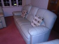 TWO SOFA'S TWO AIRCHAIRS IN LIGHT LAGOON GREEN LEATHER PICK UP ONLY FROM SG8 0NN