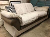 3 seater cream sofa with foot stool