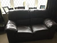 Dark brown leather settee
