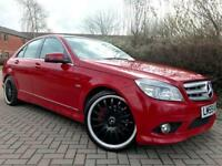 "MERCEDES BENZ C CLASS C220 CDI SPORT BLUE EFFICIENCY AUTO STUNNING RED WITH BLACK ROOF 19"" ALLOYS"
