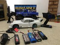 X2 RC cars Ford Shelby and Traxxas big foot monster truck