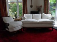 BERGERE SETTEE AND CHAIR
